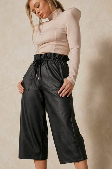 Black Faux Leather Paper Bag Culotte Pants
