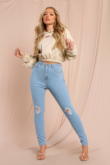 Light blue High Waist Distressed Skinny Jean