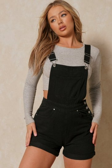 Black Denim Dungaree Short