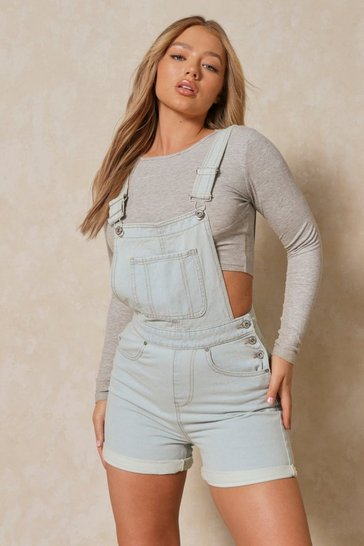Light blue Denim Dungaree Short