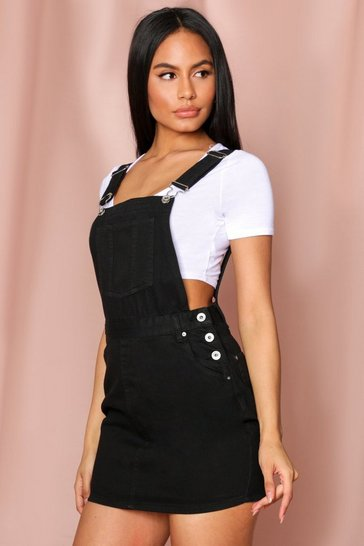 Black Denim Pinafore Dress