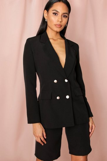 Black Double Breasted Boxy Milkmaid Blazer