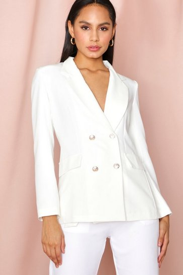 Cream Double Breasted Boxy Military Blazer