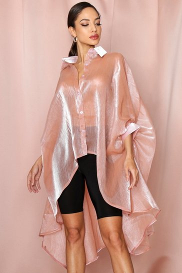 Blush Organza Oversized Shirt
