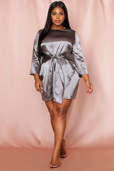 Grey Tie Front Satin Kimono Sleeve Dress