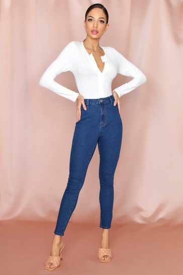 Mid blue High Rise Super Stretch Disco Skinny Jeans