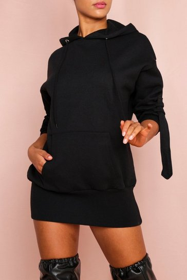 Black Strap Detail Hooded Sweater Dress