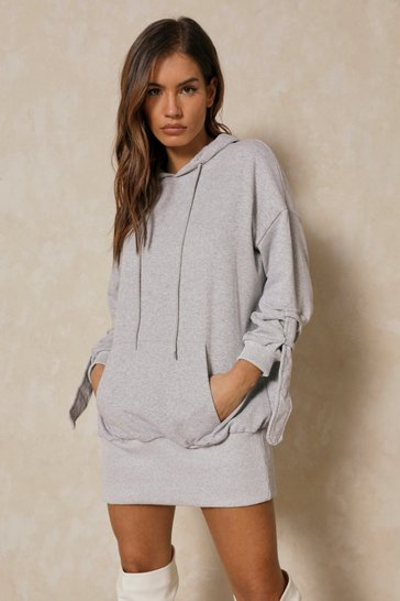 Grey Strap Detail Hooded Sweater Dress