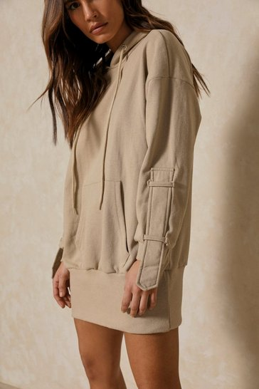 Sand Strap Detail Hooded Sweater Dress