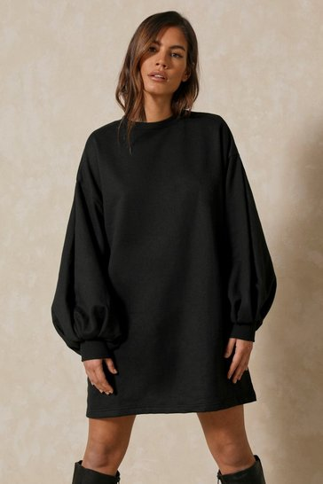 Black Oversized Balloon Sleeve Sweater Dress