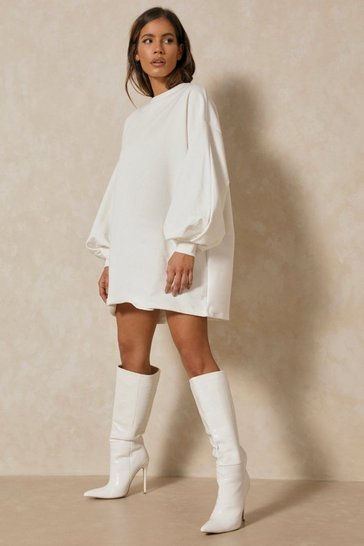 Cream Oversized Balloon Sleeve Sweater Dress