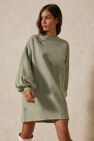 Sage Oversized Balloon Sleeve Sweater Dress