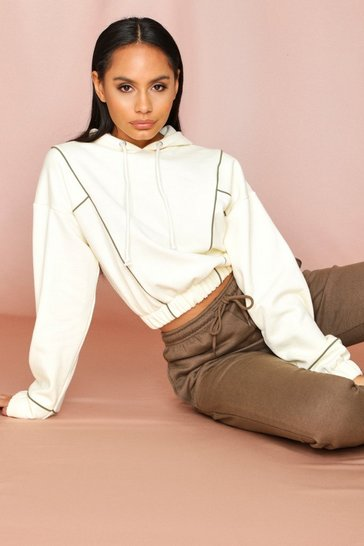 Cream Contrast Piping Hooded Cropped Sweatshirt