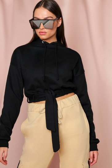Black Tie Front Belted Crop Hooded Sweatshirt
