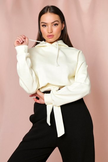 Cream Tie Front Belted Crop Hooded Sweatshirt