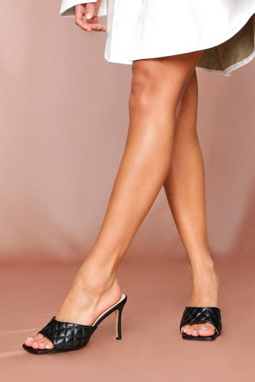Black Square Toe Quilted Heels