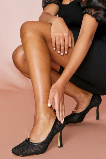 Black Square Toe Heeled Mules