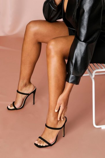 Black Square Toe Double Strap Mule Heels