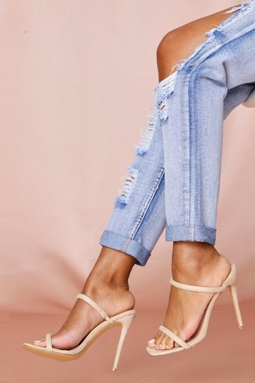 Nude Square Toe Double Strap Mule Heels