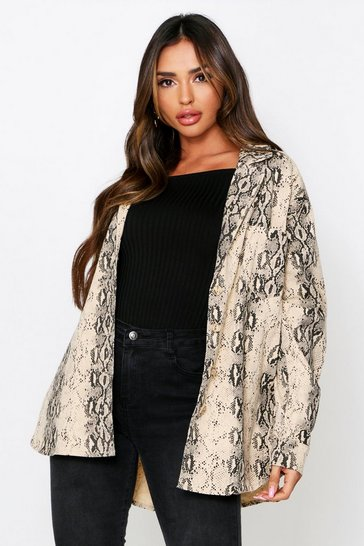 Brown Oversized Snake Print Jacket