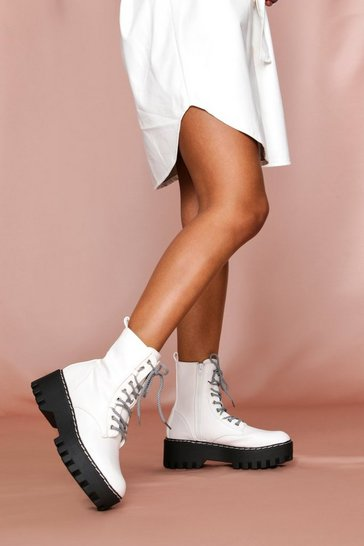 White Patent Chunky Sole Hiker Lace Up Ankle Boot