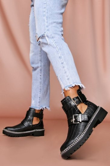 Black PU Cut Out Buckle Detail Ankle Boot