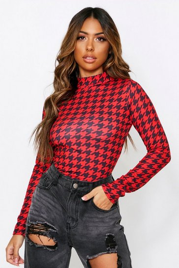 Womens Red Dog Tooth High Neck Bodysuit