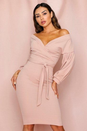 Stone Off The Shoulder Midi Dress