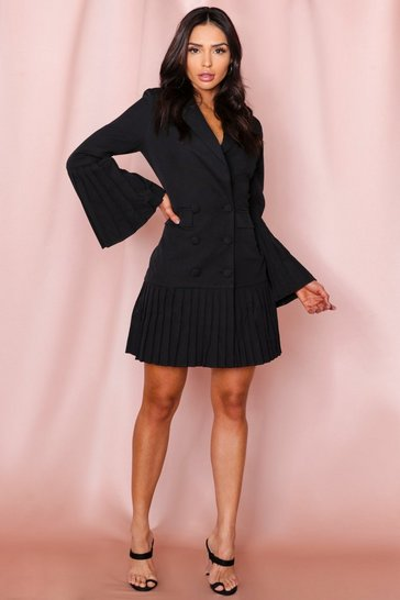 Black Pleated Hem & Sleeve Blazer Dress