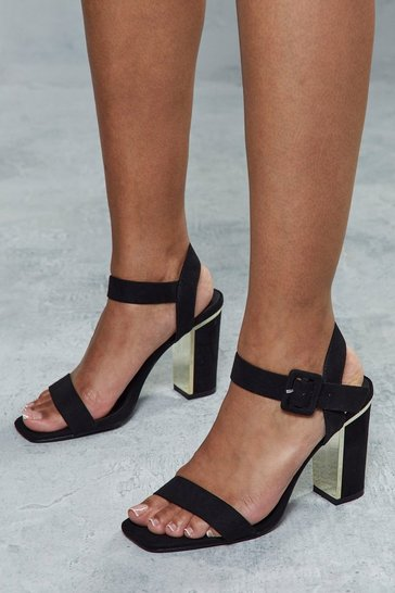 Black Block Heel Metal Tip Ankle Strap Heel