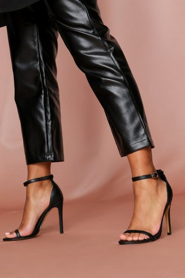 Black Ankle Strap Barely There Heels