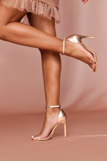Rose gold Ankle Strap Barely There Heels
