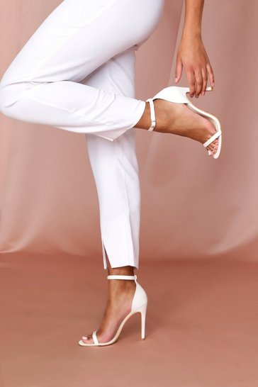 White Ankle Strap Barely There Heels