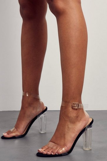 Black Clear Strap Block Heels