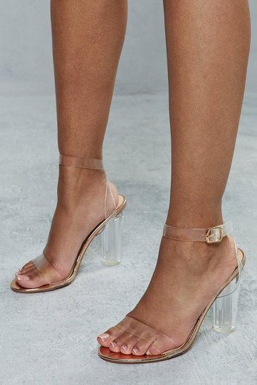 Rose gold Clear Strap Block Heels