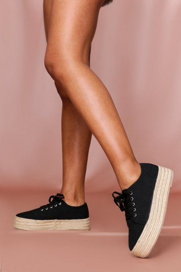 Black Canvas Lace Up Espadrilles Flatform
