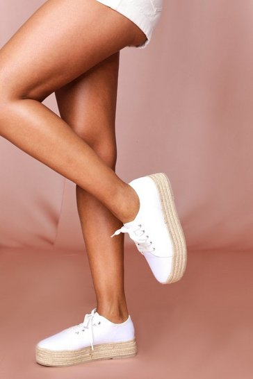 White Canvas Lace Up Espadrilles Flatform