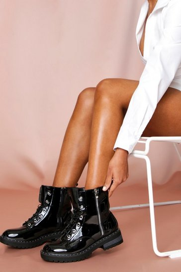 Black Patent Zip Detail Ankle Boot