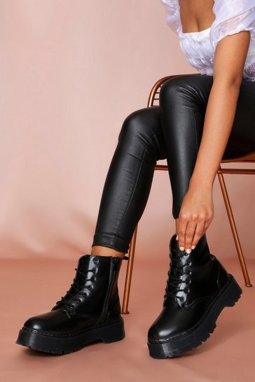 Black Chunky Sole Ankle Boot