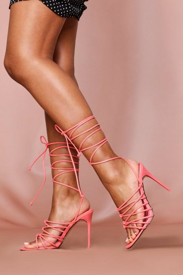 Coral Knot Detail Square Toe Lace Up Heels