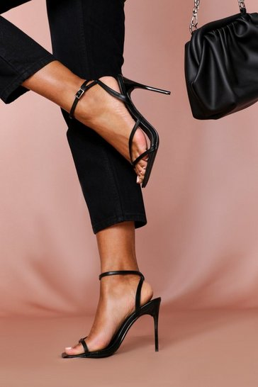 Black Square Toe Ring Strappy Heel