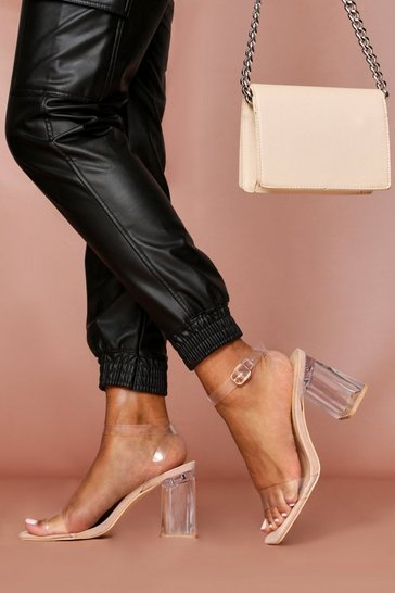 Nude Clear Block Heel Ankle Strap