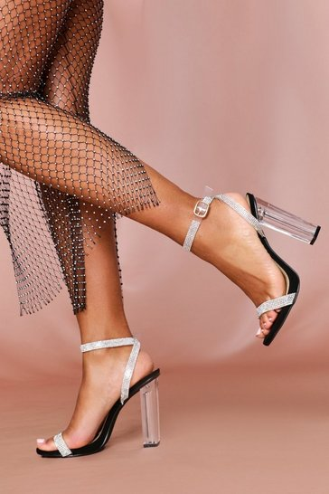 Black Diamante Strap Clear Heeled Sandals