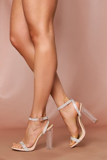 Nude Diamante Strappy Clearl Heelsd Sandals