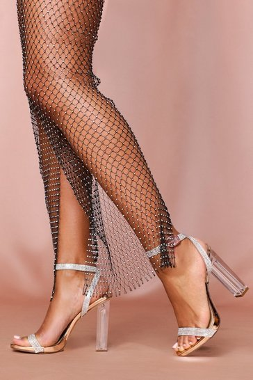 Rose Diamante Strappy Clear Minimal Heels