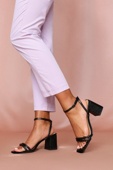 Black Block Heel Square Toe
