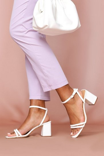 White Block Heel Square Toe