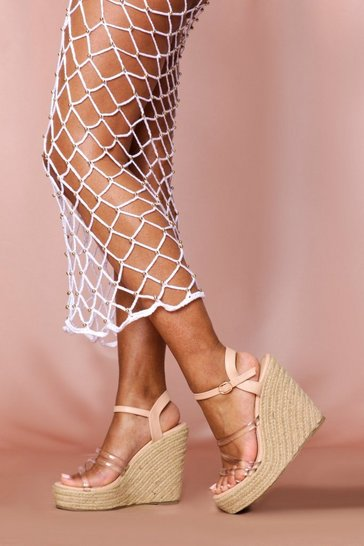Nude Strappy Clear Strap Espadrille Wedge