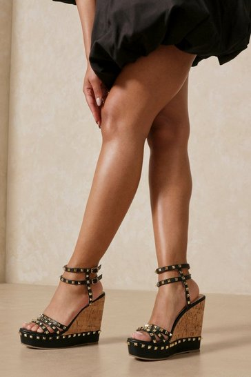 Black Studded Cork Wedges
