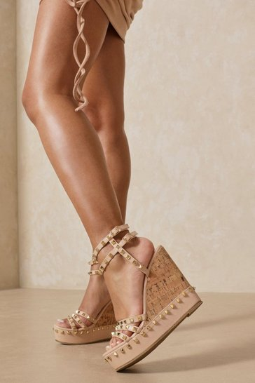 Nude Studded Cork Wedges